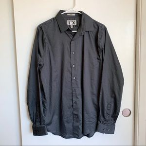 NWT Express Men's Gray Button Down Fitted Shirt M